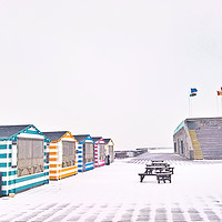 Buy canvas prints of Snow on Hastings Pier by Richard May