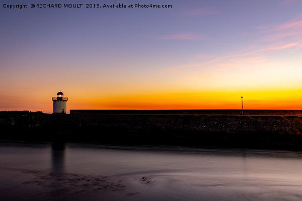 Burry Port Lighthouse at sunset Framed Mounted Print by RICHARD MOULT