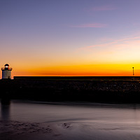 Buy canvas prints of Burry Port Lighthouse at sunset by RICHARD MOULT