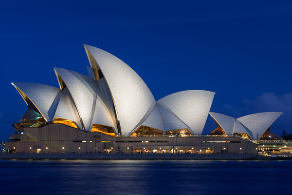 Sydney Opera House after dark. Canvas print by Andrew Michael