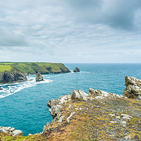 Buy canvas prints of Coastal views from Willapark Lookout near Boscastl by Andrew Michael