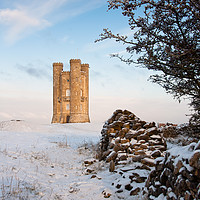 Buy canvas prints of Broadway tower in winter snow.  by Andrew Michael