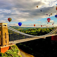 Buy canvas prints of Hot air balloons over Clifton suspension bridge by Claire Turner