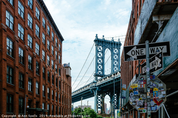 Iconic view of Manhattan Bridge from Brooklyn Framed Mounted Print by Ann Spells