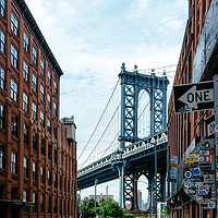 Buy canvas prints of Iconic view of Manhattan Bridge from Brooklyn by Ann Spells