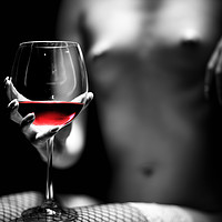 Buy canvas prints of Nude woman red wine by Johan Swanepoel