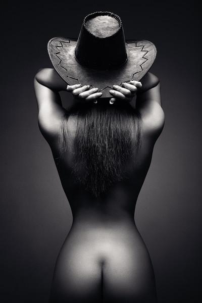 Nude woman cowboy hat 2 Acrylic by Johan Swanepoel