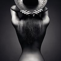 Buy canvas prints of Nude woman cowboy hat 2 by Johan Swanepoel