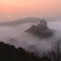 Buy canvas prints of Corfe Castle Mist by David Neighbour