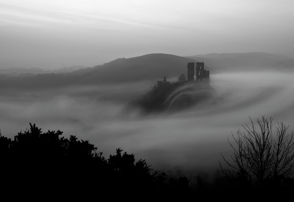 Corfe - Misty Moody Monochrome Canvas print by David Neighbour