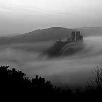 Buy canvas prints of Corfe - Misty Moody Monochrome by David Neighbour