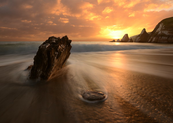 Westcombe Bay Sunset Canvas print by David Neighbour