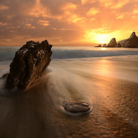 Buy canvas prints of Westcombe Bay Sunset by David Neighbour