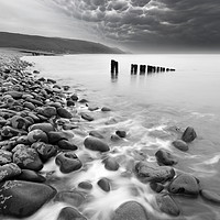Buy canvas prints of Bossington Groynes Mono by David Neighbour