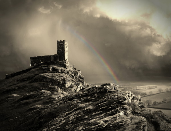 Brentor Church Sepia Canvas Print by David Neighbour