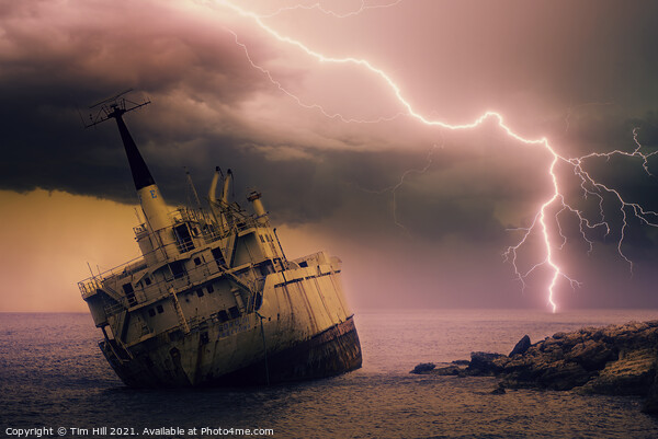 Shipwreck and Storm Lightning Canvas Print by Tim Hill