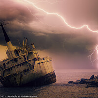 Buy canvas prints of Shipwreck and Storm Lightning by Tim Hill