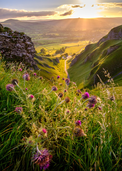 Winnats Pass  Limestone Gorge Sunrise, Derbyshire Canvas Print by Tim Hill