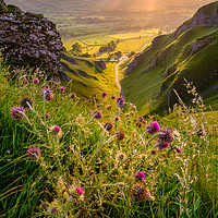 Buy canvas prints of Winnats Pass  Limestone Gorge Sunrise, Derbyshire by Tim Hill