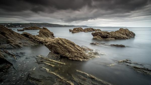 Hannafore Seascape, West Looe Rocks, Moody Sky Canvas Print by Tim Hill