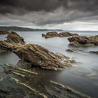 Buy canvas prints of Hannafore Seascape, West Looe Rocks, Moody Sky by Tim Hill