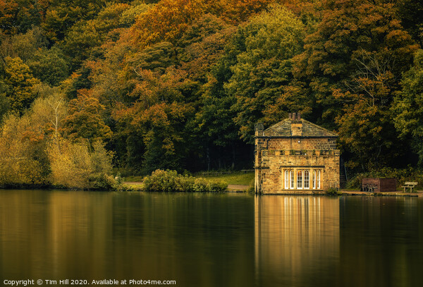 Newmillerdam Boathouse and Lake in Autumn Canvas Print by Tim Hill