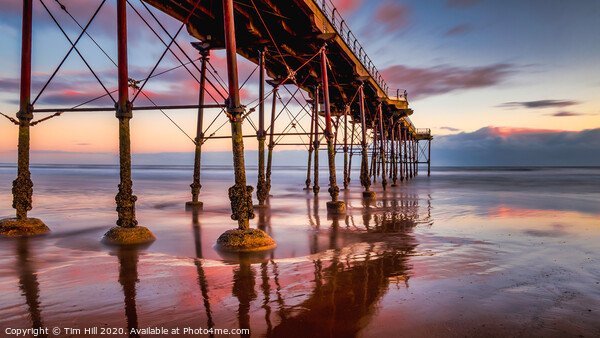 Saltburn Pier Sunset Canvas Print by Tim Hill