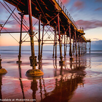Buy canvas prints of Saltburn Pier Sunset by Tim Hill