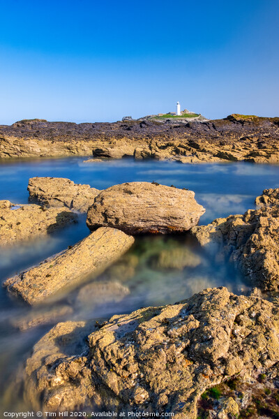 Godrevy Lighthouse, St Ives Bay, Cornwall Framed Mounted Print by Tim Hill
