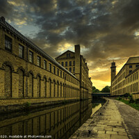 Buy canvas prints of Salts Mill, Leeds Liverpool Canal, Saltaire by Tim Hill