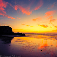 Buy canvas prints of Tenby Beach Sunrise by Tim Hill
