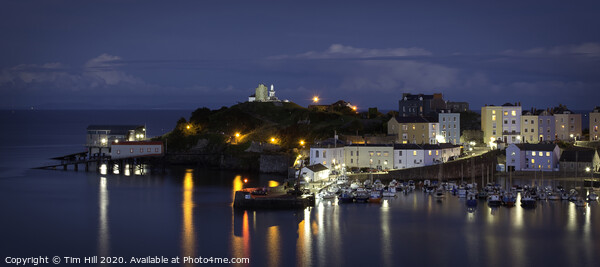 Tenby at Night Canvas Print by Tim Hill