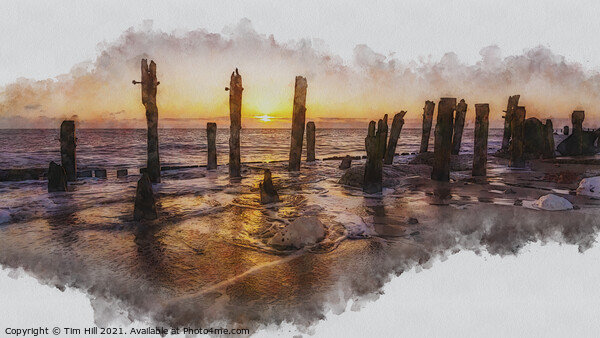 Spurn Point Seascape Art Framed Mounted Print by Tim Hill
