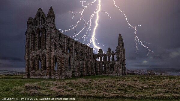 Lightning over Whitby Abbey in Yorkshire Print by Tim Hill