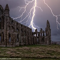 Buy canvas prints of Lightning over Whitby Abbey in Yorkshire by Tim Hill