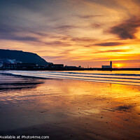 Buy canvas prints of Scarborough south beach sunrise over lighthouse by Tim Hill