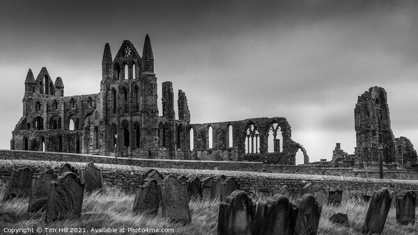 Whitby Abbey and St Hilda's Graveyard Print by Tim Hill
