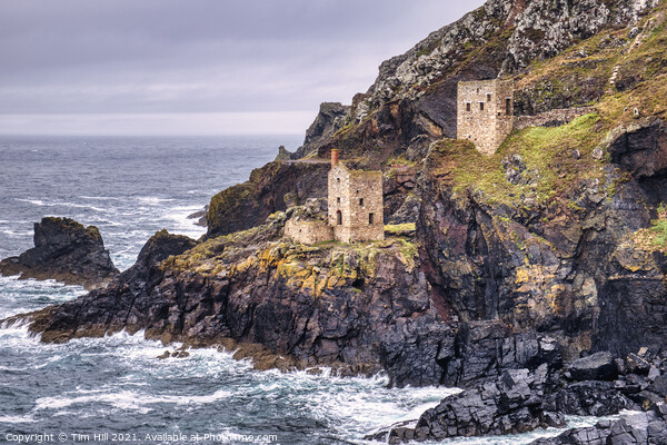 Crown Engine Houses, Botallack, Cornwall Canvas Print by Tim Hill