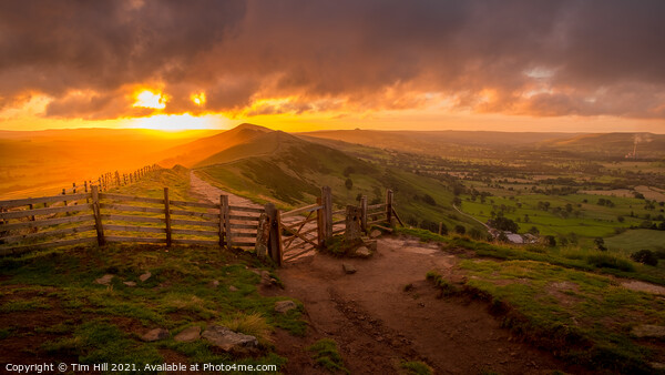 Sunrise over The Great Ridge and Mam Tor Gate Canvas Print by Tim Hill