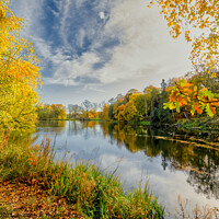 Buy canvas prints of Wakefield Parkland lake in Autumn by Tim Hill