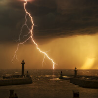 Buy canvas prints of Whitby Lightning Storm by Tim Hill