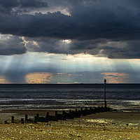 Buy canvas prints of Dark skies over the Wash at Hunstanton by Clive Wells