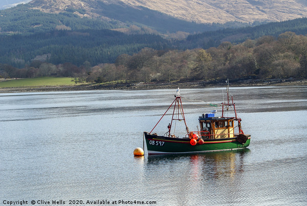 Fishing boat on Loch somewhere in Scotland Canvas Print by Clive Wells