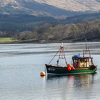 Buy canvas prints of Fishing boat on Loch somewhere in Scotland by Clive Wells