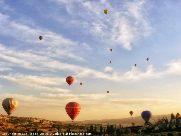 romantic ride in hot air balloon Acrylic by Sue Hoppe