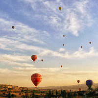 Buy canvas prints of romantic ride in hot air balloon by Sue Hoppe