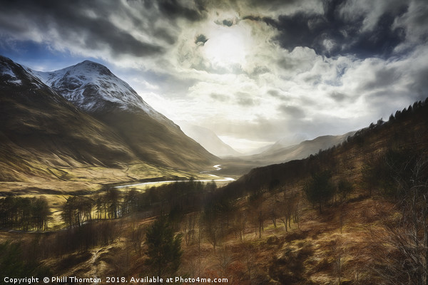 Sunshine on Glen Etive. Canvas print by Phill Thornton
