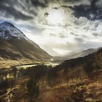 Buy canvas prints of Sunshine on Glen Etive. by Phill Thornton