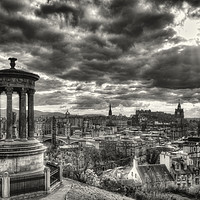 Buy canvas prints of The Edinburgh skyline, and Dugald Stewart Monument by Phill Thornton