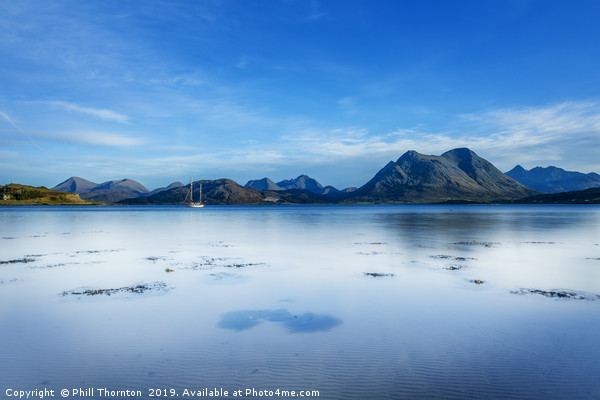 A very still Sound of Raasay and the mountains of  Canvas print by Phill Thornton